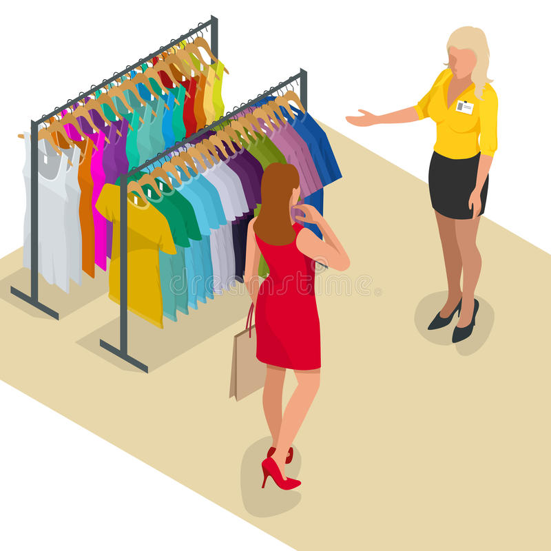 Beautiful brunette doing shopping in clothes store. Shopping time. Woman at the checkout makes shopping. Flat 3d. Isometric vector illustration for infographic vector illustration