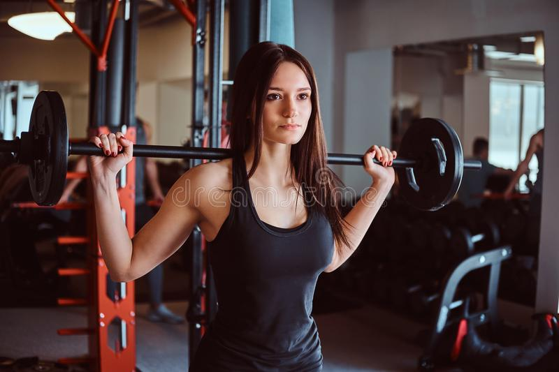 Beautiful brunette female in sportswear holds a barbell while training in a fitness club or gym. royalty free stock photo