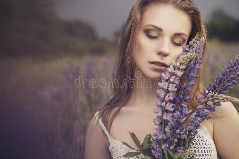 Beautiful brunette fit slim fragile woman with clear flawless sk royalty free stock photo