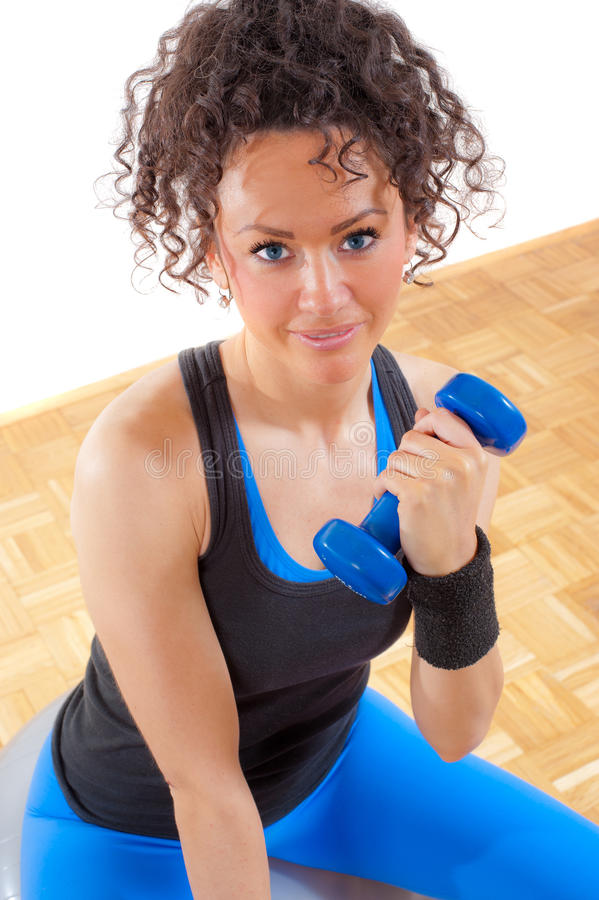 Download Beautiful Brunette Fitness Girl With Weights Stock Image - Image of curly, adult: 18993021