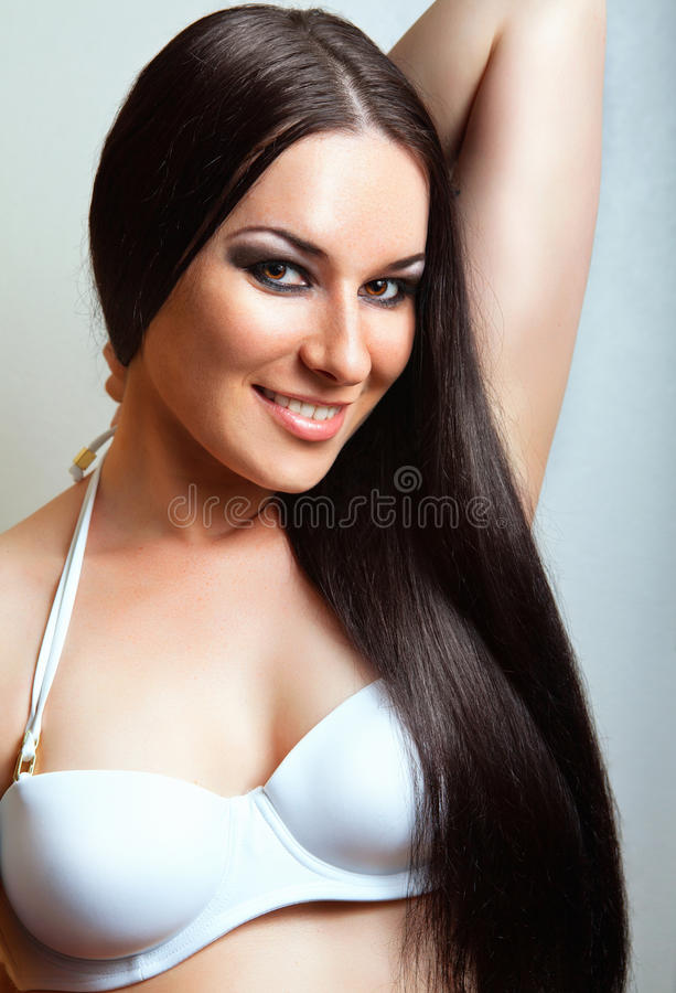 Beautiful Brunette Girl. Healthy Long Hair. Stock Photos