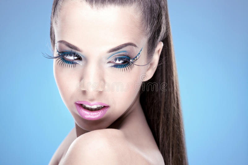 Beautiful Brunette Girl with luxury makeu stock images