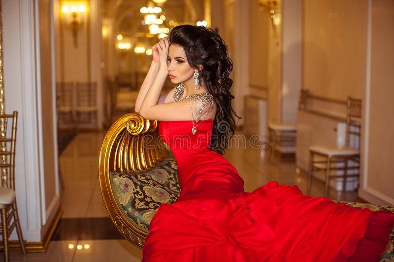 Beautiful brunette girl in the Palace stock photo