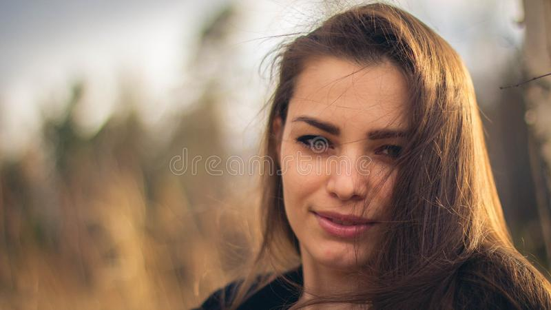 A beautiful brunette girl posing in a field on autumn. Art photo royalty free stock photo