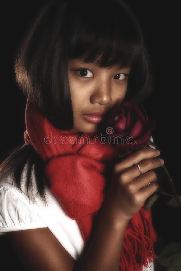 Beautiful brunette girl in a red scarf around his neck, with a red rose in her hand stock photography