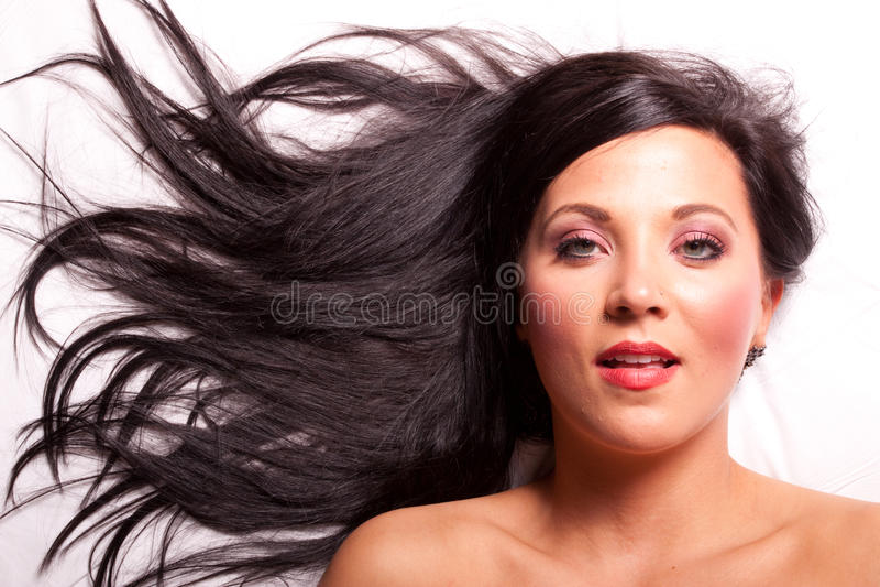 Beautiful brunette girl smiling royalty free stock photos