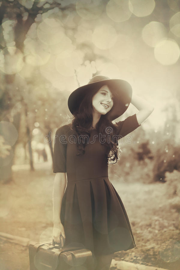 Beautiful brunette girl with suitcase stock images