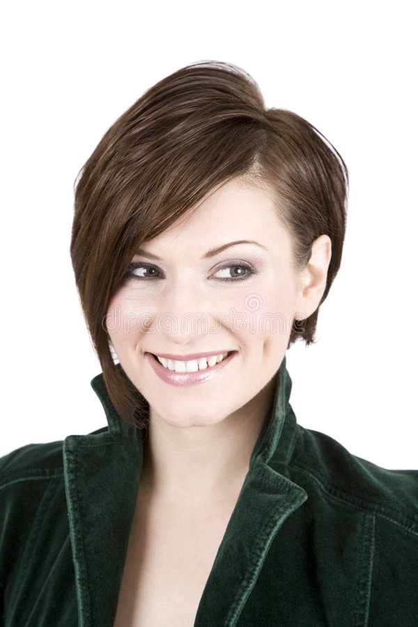 Beautiful Brunette In Green Smiling stock photo