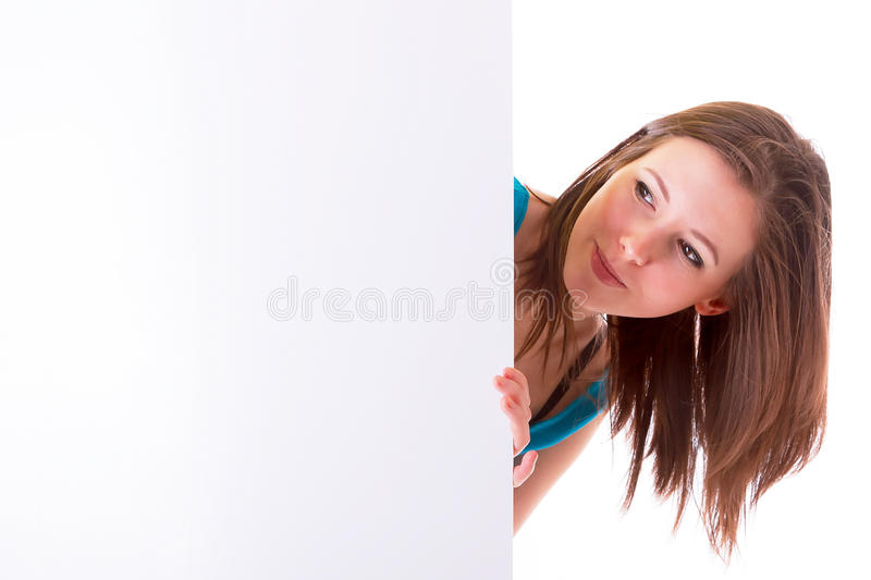 Beautiful Brunette Holding Empty White Board Stock Photos