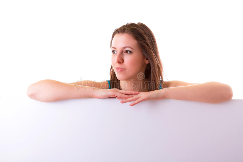 Download Beautiful Brunette Holding Empty White Board Stock Photo - Image: 29397416