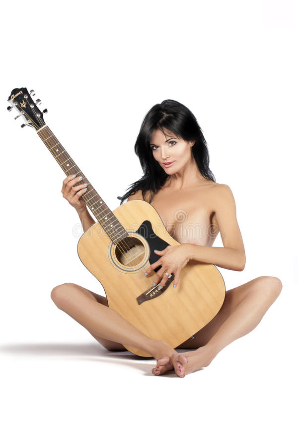 Woman model with guitar