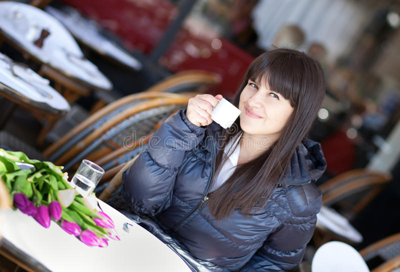Download Beautiful Brunette Lady Drinking Coffee Stock Image - Image: 27446437