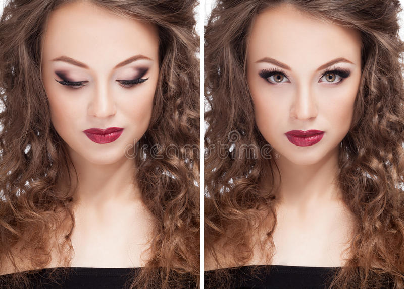 Beautiful brunette model professional make up royalty free stock photo