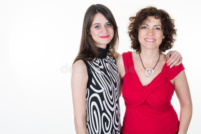 Brunette mother and daughter teen Family relationships love affection stock photos