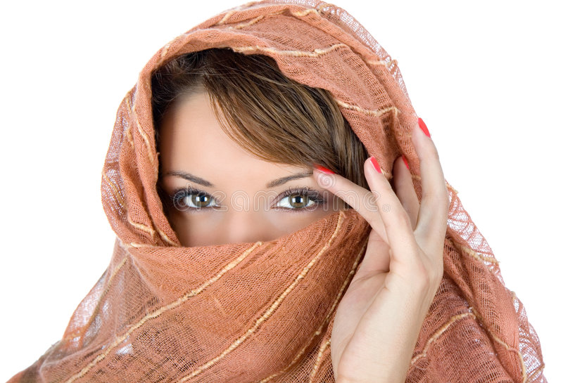 Beautiful Brunette With Scarf Stock Photos