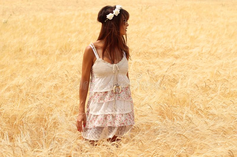 Beautiful brunette standing in a wheat field royalty free stock image