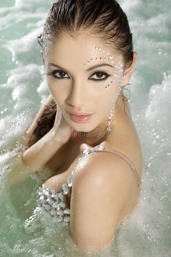 Download Beautiful Brunette In Swimmingpool Stock Photo - Image: 19230640