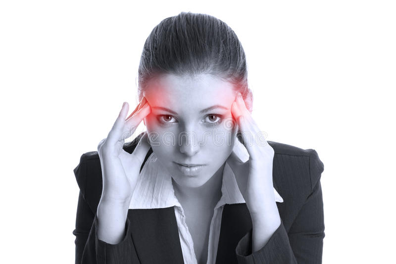 Beautiful Brunette With Terrible Headache Stock Photos