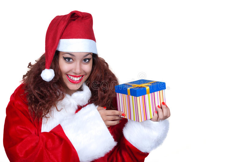 Download Beautiful Brunette Wearing Santa Claus With Gift Stock Photo - Image: 27807976
