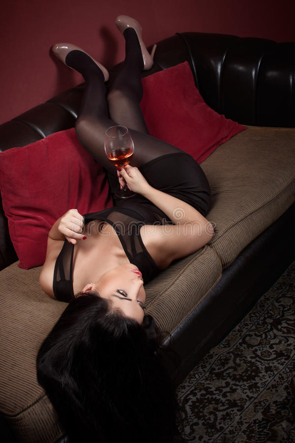 Download Beautiful Brunette In A Wine Bar Stock Image - Image: 42372397