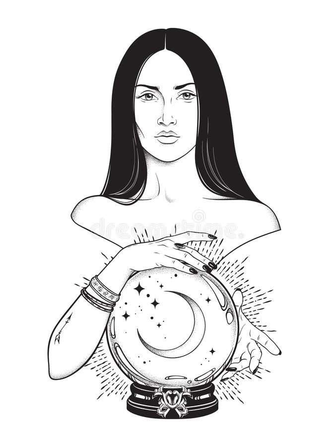 Beautiful brunette witch with magic crystal ball with crescent moon in her hands line art and dot work. Boho chic tattoo, poster, stock illustration