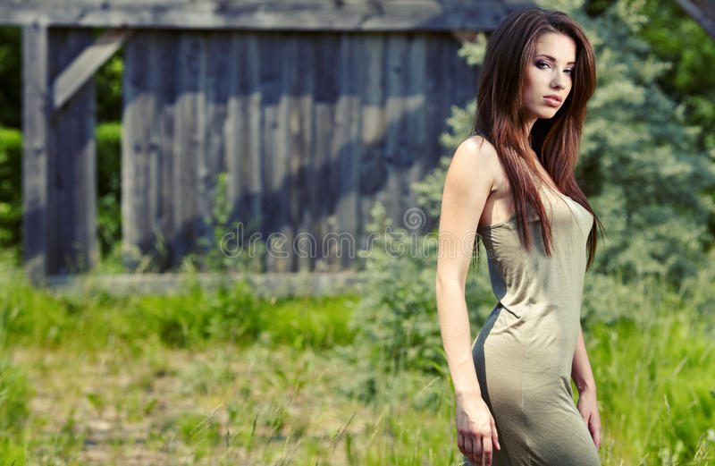 Beautiful brunette woman stock image