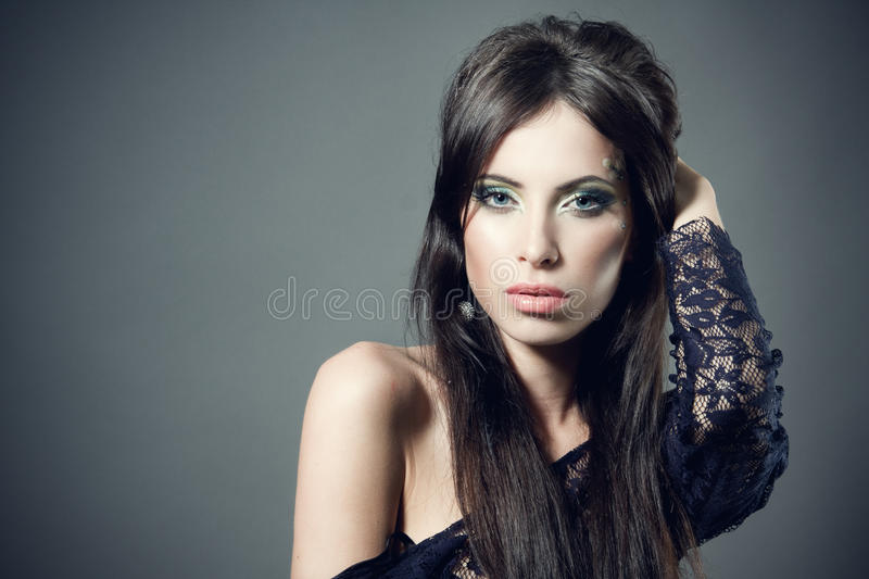 Beautiful brunette woman stock photography