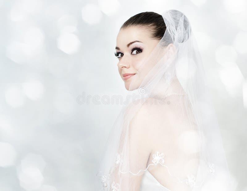 Beautiful brunette woman as bride stock photos