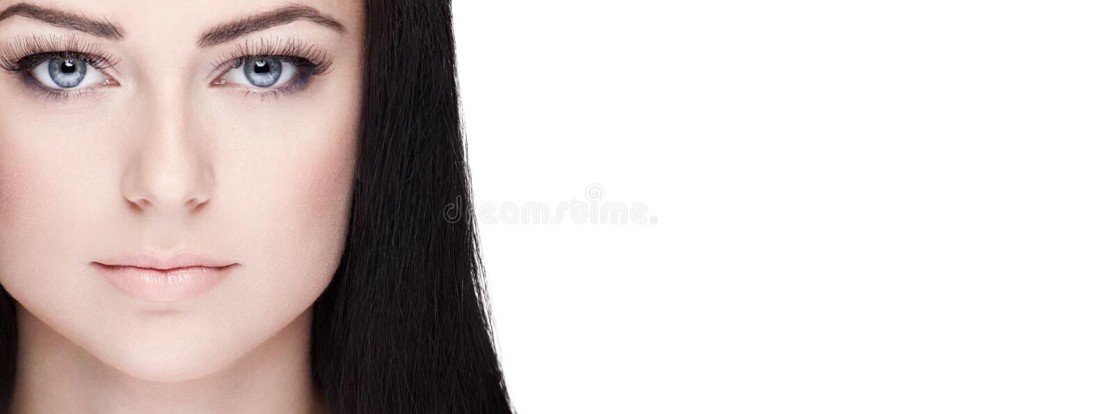 Beautiful brunette woman closeup portrait with space royalty free stock images