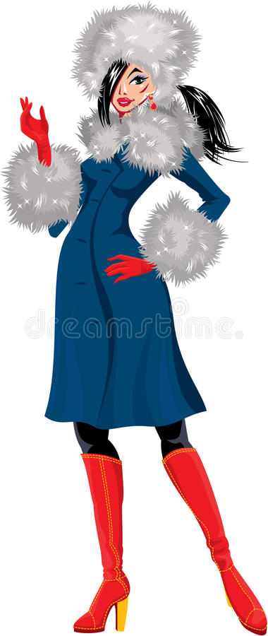 Download Beautiful Brunette Woman Dressing In Blue Coat Wit Stock Vector - Image: 34253882