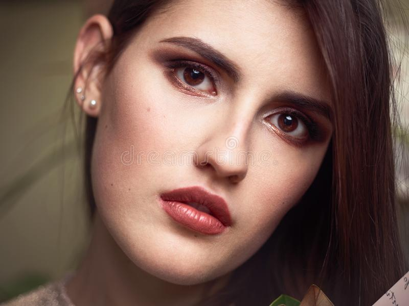 Beautiful brunette woman face closeup beauty eyes and lips makeup moody female portrait stock image