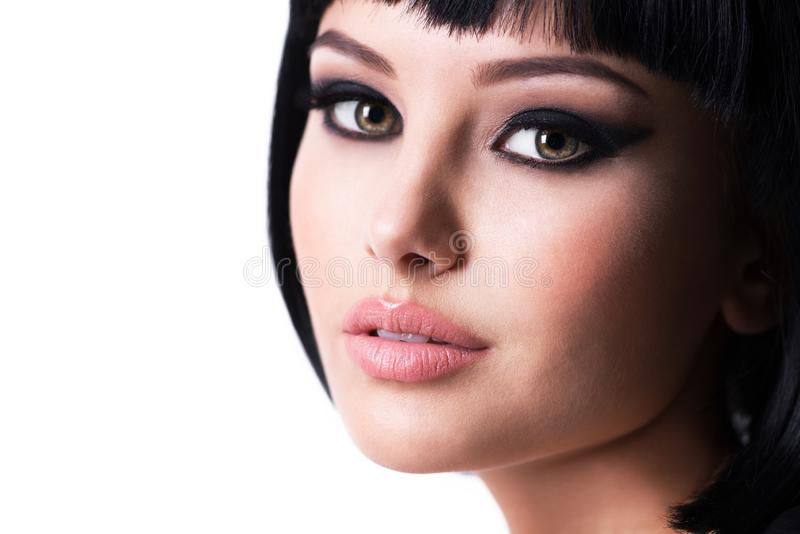 Beautiful brunette woman with fashion makeup stock images