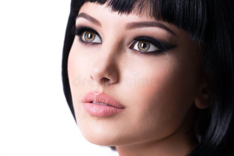 Beautiful brunette woman with fashion makeup stock photo