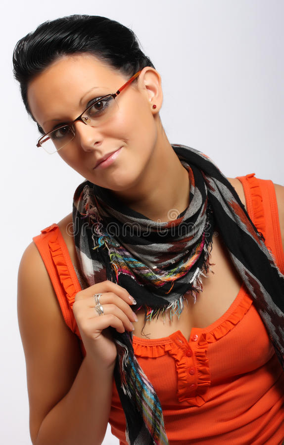 Beautiful brunette woman with glasses. stock image