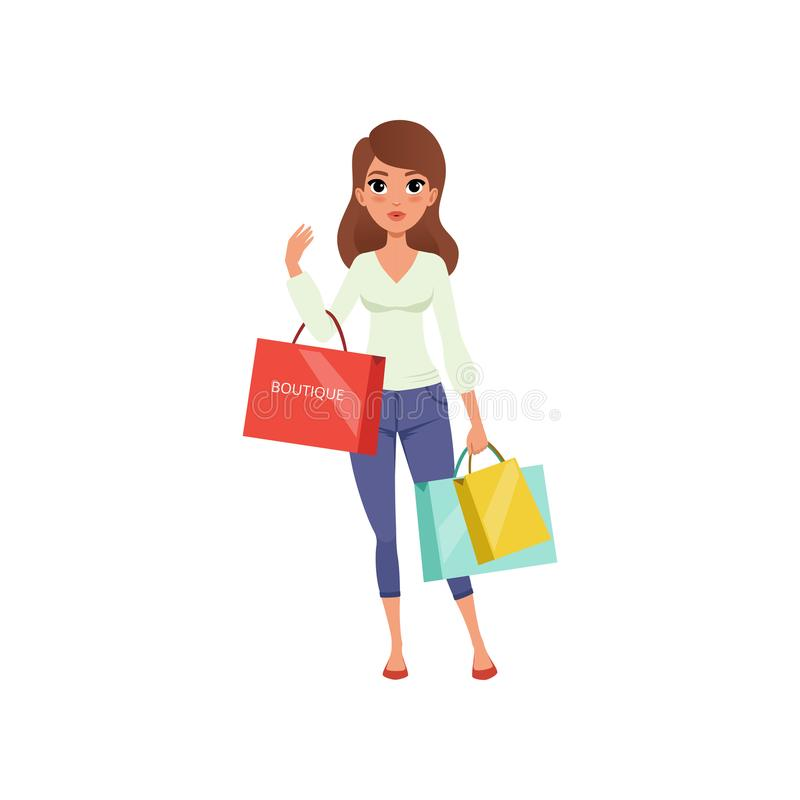 Beautiful brunette woman holding shopping bags from boutique. Sale in store. Young girl in blouse and pants. Flat vector vector illustration