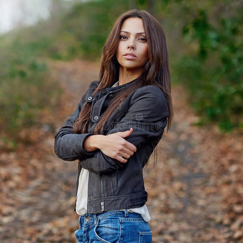 Beautiful brunette woman outdoor portrait royalty free stock image