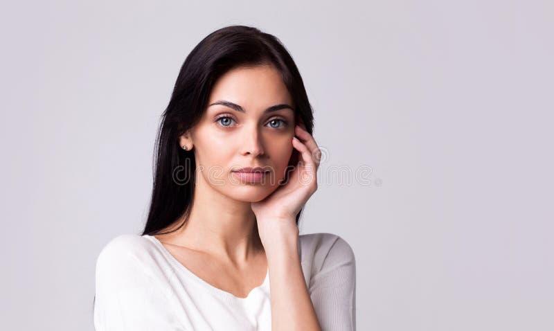 Beautiful brunette woman portrait stock photography