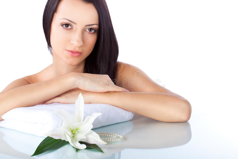 Beautiful brunette woman portrait with towel royalty free stock image