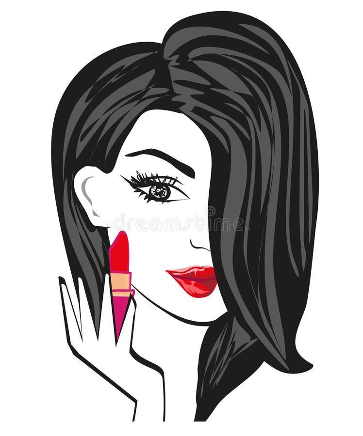 Beautiful brunette woman putting lipstick on. Vector Illustration vector illustration