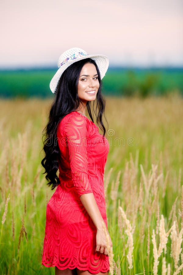 Beautiful brunette woman with a red dress in a field royalty free stock photos