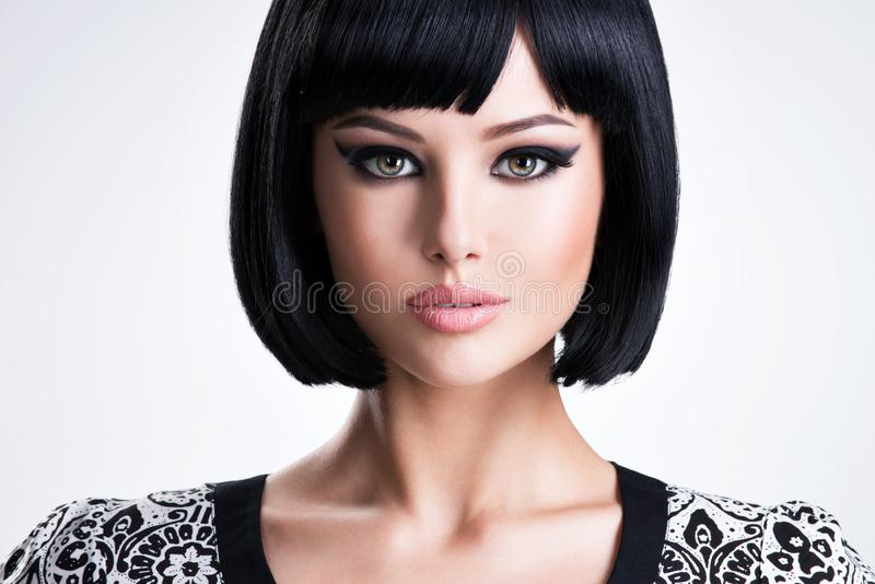 Beautiful brunette woman with short hairstyle royalty free stock photos