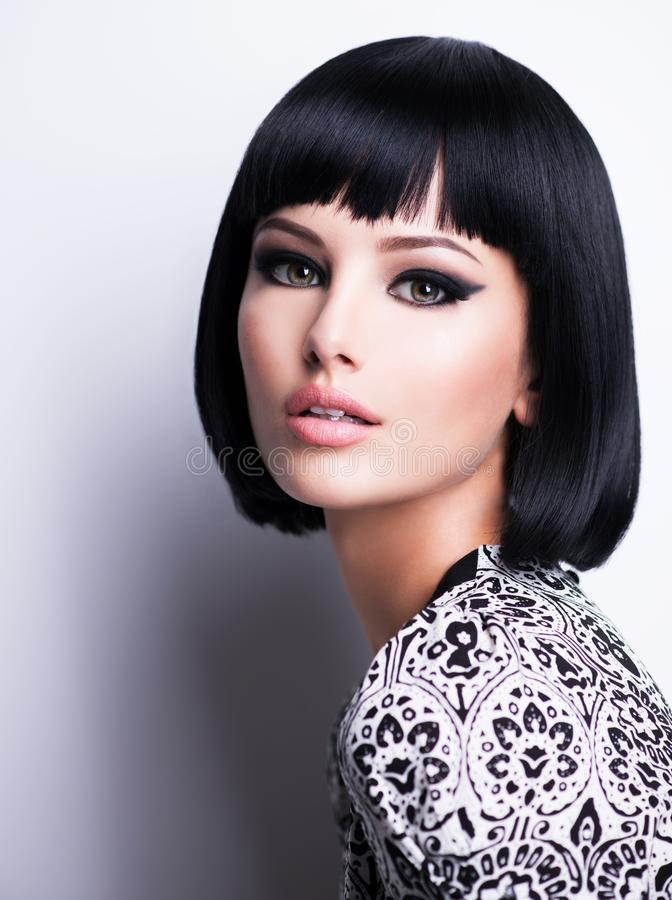 Beautiful brunette woman with short hairstyle stock photography