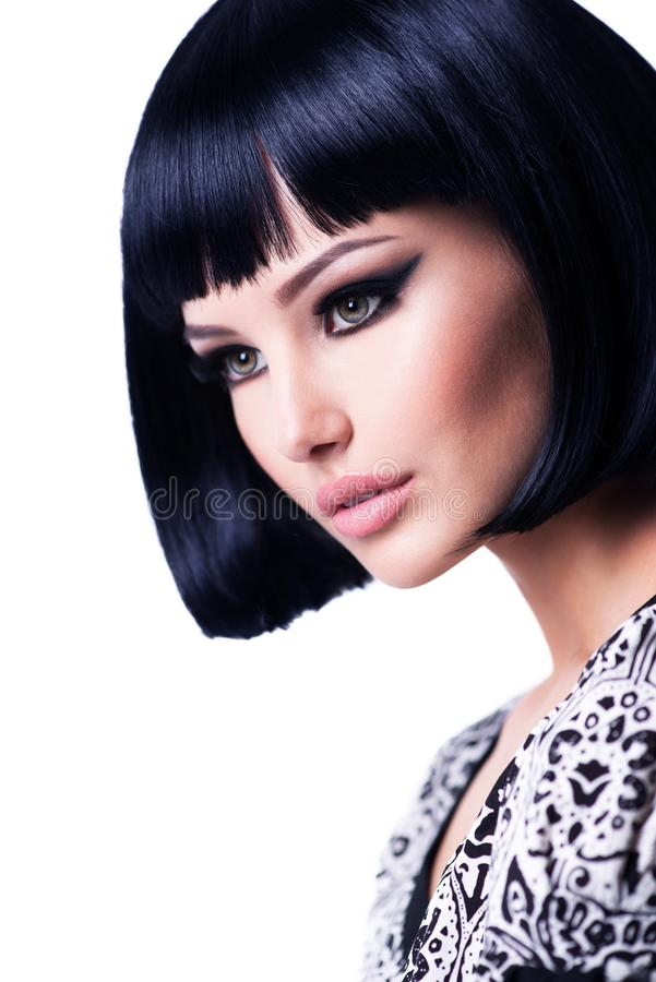 Beautiful brunette woman with short hairstyle royalty free stock images