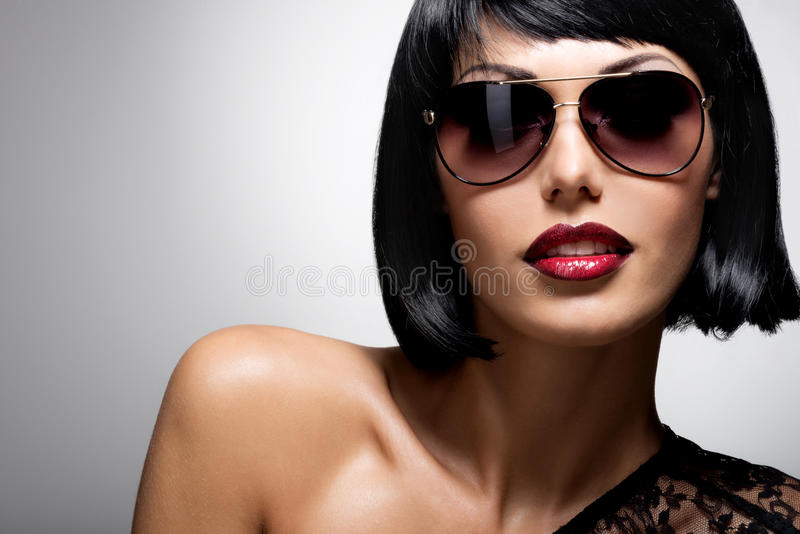 Beautiful brunette woman with shot hairstyle with royalty free stock photography