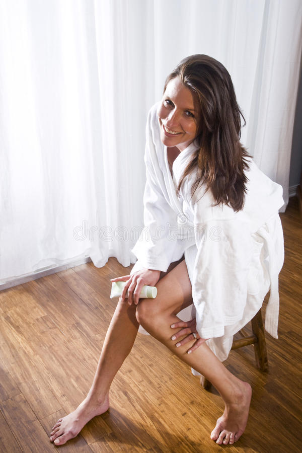 Download Beautiful Brunette Woman Wearing Bathrobe Stock Image - Image: 15050677