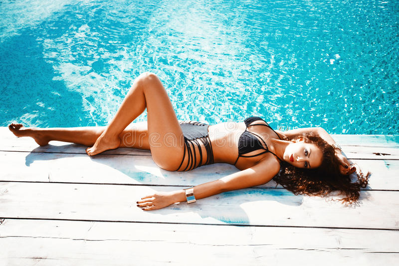 Download Woman by the pool stock photo. Image of shot, female - 29753458