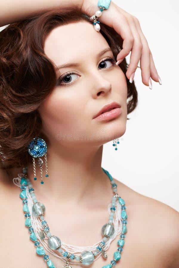 Beautiful brunette young woman stock photos
