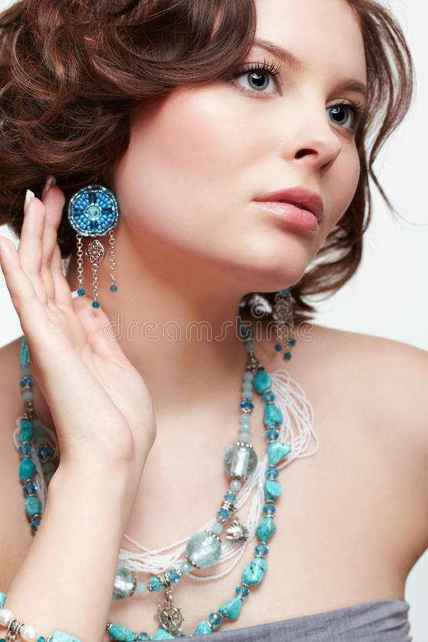 Beautiful brunette young woman royalty free stock images