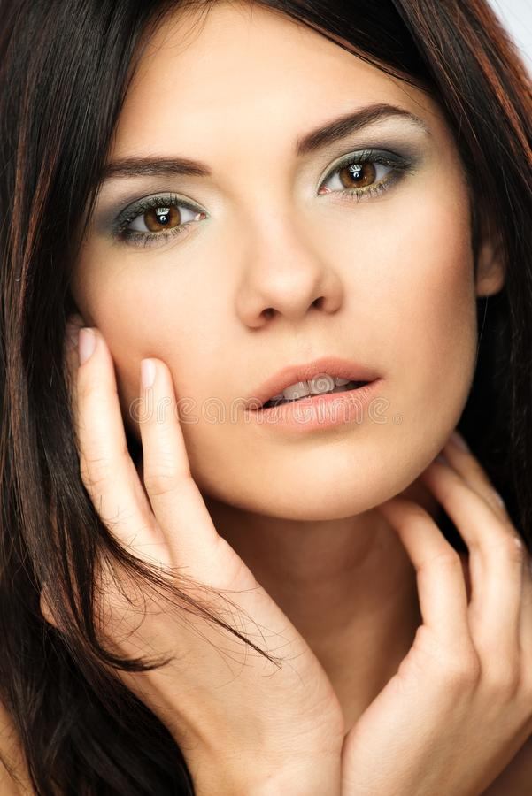 Beautiful brunette young woman royalty free stock photo