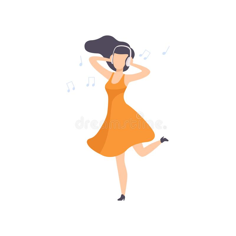 Beautiful brunette young woman in orange dress listening music and dancing, girl enjoying music with headphones vector. Illustration isolated on a white stock illustration